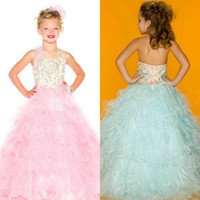 Wholesale Hot Sale Pink Girl s Pageant Dresses Halter Pink Purple Mint White Tulle Ball Gowns Flower Girls Dress for Girls