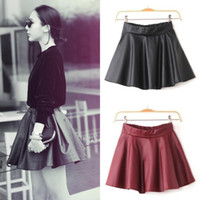 Faux Fur high waisted shorts - Women Black RED Faux Leather Mini Skirt High Waisted Flared Pleated Skater Short Mini Dress DH04