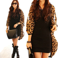 Wholesale Fashion Women S Leopard Chiffon Batwing Sleeve Casual Blouse Cardigan Tops