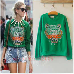 Wholesale Celebrity Style Embroidery Tiger Head TOP Blouse Jumper Hoodie ONE Size
