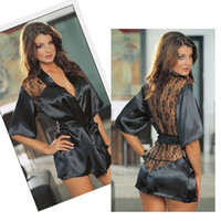 silk robe - New Black Sexy Silk Lace Kimono Dressing Gown Bath Robe Lingerie Nightdress Lingerie Nightwear Underwear G string DH04