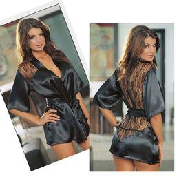 Wholesale New Black Sexy Silk Lace Kimono Dressing Gown Bath Robe Lingerie Nightdress Lingerie Nightwear Underwear G string DH04