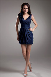 Sexy Short Mini V Neck Sleeveless Navy Blue Formal Special Occasion Bridesmaid Cocktail Short Prom Party Dresses