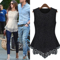 sexy blouses - 2013 Women s Sexy Blouses Sleeveless Crew Collar Lace Peplum Blouses Top Popular DH04