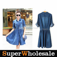 Casual Dresses High Collar Tea Length Hot Sell !!! Vintage Blue Denim Dress Women Half Sleeve Casual Pleat Jeans Pocket Mid-Calf Dress S-4XL