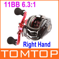 Wholesale 11BB Right Hand Bait Casting Fishing Reel Ball Bearings One way Clutch High Speed Red For Outdoor Fish Sports H9701 R