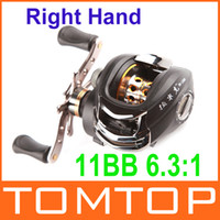 Wholesale 11BB Right Hand Bait Casting Fish Fishing Reel Ball Bearings One way Clutch High Speed Black For Outdoor Sports H9702 R