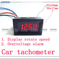 Wholesale Digital Red LED Tachometer Tacho Gauge for Car Motorcycle with Battery Overvoltage alarm