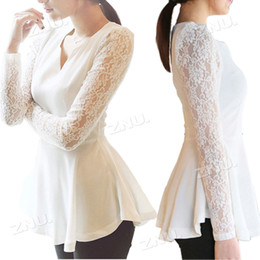 Wholesale Ladies Blouses Flared Peplum Sexy tops HOT Style Lace Sleeve Fashion Blouse Size S M L XL XL DH04