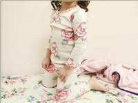 100% cotton pajamas - Guangdong High Quality Pure Cotton Children Homewear Clothing Set Fall Winter Baby Girls Floral Pajamas Year Kids Set QZ147