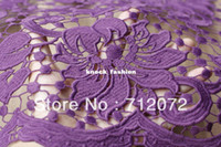 Wholesale Purple wedding dress fabric hollow embroidery Water soluble lace fabric floral milk fiber dress fabric cm wide by yard