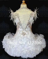 Wholesale New White Organza Above knee Mini Ball gown Crystals Halter feather Cupcake Girl s Pageant Dresses Infant Toddler Dress