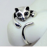 Cute Silver Cat Shaped Ring With Rhinestone Eyes, Adjustable...