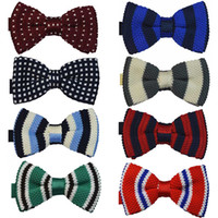 Wholesale 50 New arrivals Men Men s Polyester Knitted Knitting Bow ties Festival Pub Wedding party Bow tie Self tie