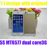 Wholesale Real S Goophone I5 quot HD screen MTK6577 Android MTK6572 quad band Zophone C V5 Nano SIM luxury gold smartphone G WCDMA free gift