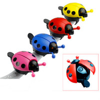 aluminum+plastic bicycle bell pink - 6pcs Colorful Ladybug Bike Cycling Bell Ring Mountain Bike Mini Bicycle Bells Handlebar Sound Alarm Horns blue Yellow Red Pink