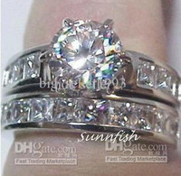 Wholesale New Fashion Elegant women mens lovers wedding ring k white gold GP ct white clear gemstone rings diamond