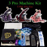 tattoo kit - Tattoo Kit Pro Machine Gun Power Supply Needles Grip Tip ink Cup U Pick color machine