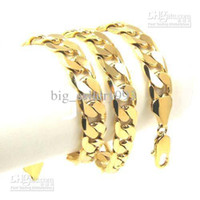 Wholesale K Yellow Gold plated Necklace Fashion Men s Charms Coarse Chain Necklaces Simple Jewelry