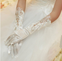 Wholesale 2016 New arrival Full Finger Wedding Gloves Embroidery Bridal Gloves Performances gloves white ivory AI02