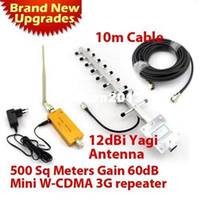 Wholesale 500 square meter Work G Repeater SET dbi yagi antenna meters cable Mhz G WCDMA Repeater UMTS Signal Booster