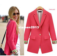 career suits for women - 2013 fall autumn winter fashion women brand red black OL career wear floral long design top for woman suit coat plus size