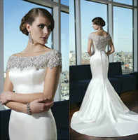 Wholesale 2014 Mermaid Satin Wedding Dresses Portrait New Sexy Sheer Back Court Train Bridal Gowns Elegant Beading Pearls Sequins Spring Church Garden
