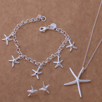 Wholesale New listing silver stud jewelry fashion Beautiful Cute Exquisite starfish bracelet earrings necklace Set Lowest Holiday gifts AT85