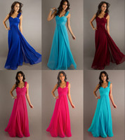 Wholesale Vintage A Line Bridesmaid Dresses Chiffon Spaghetti Straps Hand Made Flowers Floor Length In Stock Lace Up Bandage Back Pleat Low Price
