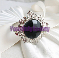 Iron ECO Friendly  Lowest Price- Black Gem Stone Silver Plated Wedding Napkin Rings Wedding Favors Decoration-Free Shipping