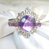 Iron ECO Friendly  Lowest Price- Lavender Gem Stone Silver Plated Wedding Napkin Rings Wedding Favors Decoration-Free Shipping