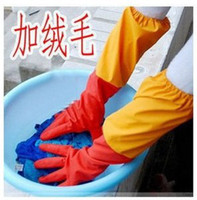 Wholesale 20pcs lotHome essential longer thicker plus villus dishwashing gloves rubber gloves latex gloves waterproof glovesfree ship