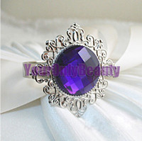 Iron ECO Friendly  Lowest Price- Purple Gem Stone Silver Plated Wedding Napkin Rings Wedding Favors Decoration-Free Shipping