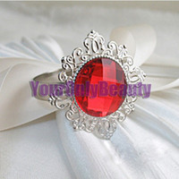 Iron ECO Friendly  Lowest Price- Red Gem Stone Silver Plated Wedding Napkin Rings Wedding Favors Decoration-Free Shipping