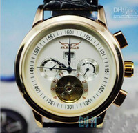 Wholesale AAA quality jaragar big men leather luxury swiss automatic watches tourbillon mens mechanical watch gold