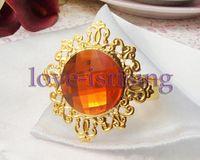 Wholesale Lowest Price Orange Gem Stone Gold Plated Wedding Napkin Rings Wedding Favors Decoration