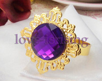 Wholesale Lowest Price Purple Gem Stone Gold Plated Wedding Napkin Rings Wedding Favors Decoration