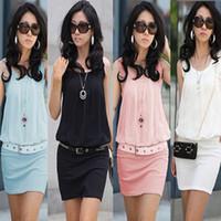 Wholesale A606 women new fashion colors plus size pleated hip bodycon chiffon dress summer elegant OL work dresses XL drop ship