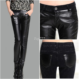 Wholesale christmas RPU Leather pants female trousers tight pencil pants patchwork skinny pants s