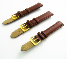 Whoelsales - 12mm 14mm 16mm 18mm 20mm 22mm Pure Dark Brown Stitched Genuine Calf Leather Watch Band Strap Watchband