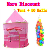Tents Animes & Cartoons Cloth Princess Pink Child Tent + 50 Ocean Balls Kids Game House Wave Balls Indoor And Outdoor Play Tent ,Christmas Gift