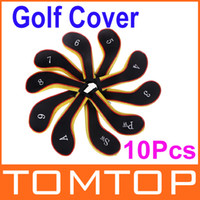 Neoprene Unisex  1Set 10Pcs Golf Club Iron Putter Head Cover HeadCovers Protect Set Neoprene Black with Yellow H8811Y