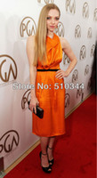 Actual Images Sleeveless Satin 2014 new collection Free shipping c11128 v-neck orange color paillette scar prom dresses under $50 celebrity dresses 2014