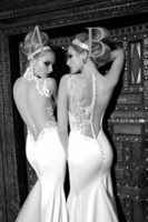 Reference Images High Collar Satin Custom Newest Sexy Mermaid Embroidery Applique Galia Lahav Graceful White ivory Wedding Dresses 2014 Sexy Backless Evening Dresses
