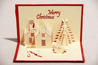 Wholesale DHL d winter snowman and castle DIY craft exquisite Christmas greeting CARDS