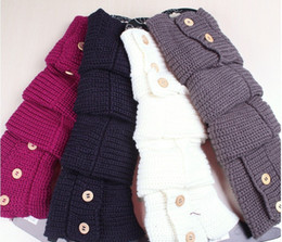 Wholesale winter solid button design Knitted Leg Warmers Stocking Socks Boot Covers Leggings Tight pairs mixed colors