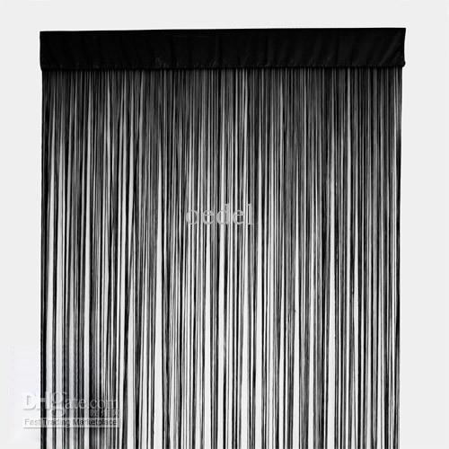 100% Polyester Black String Curtain Fringe Curtain Panel For ...