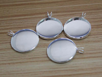 Wholesale 20pcs silver brass Pendant setting cabochon settings tray blank at mm round