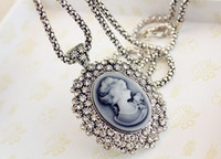 Wholesale New Arrival European Vintage Style Clear Rhinestone Cameo Carving Queen Beauty Girl Pendant Necklaces
