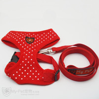 Wholesale Perfect Match Pet Products Dog Harness amp Leashes For Outdoor Activities Color Red Pink Blue Black PU Material sets